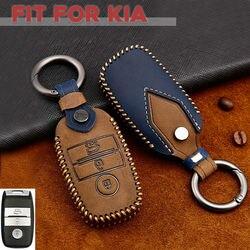 Leather Car Smart Key Fob Case Holder CoverFor Kia Optima K5 Sorento Carens Soul  2014 2015 2016 2017 2018 2019 2020
