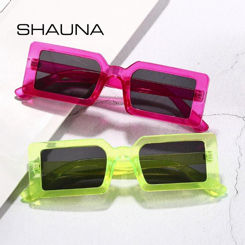 Shauna ins popular retro fluorescente verde retângulo óculos de sol uv400