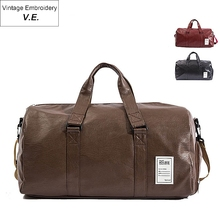 Pu Leather Travel Bag For Men&Women Vintage Duffel Carry On Luggage Weekend Large Shoulder Gym Bags