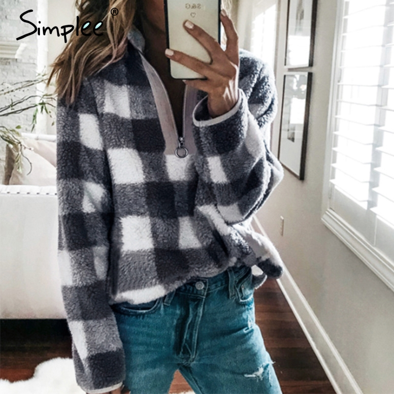 Simplee Turtleneck Women Plaid Sweatshirts Long Sleeve Zippers Female Autumn Winter Hoodies Casual Streetwear Woollen Sweatshirt