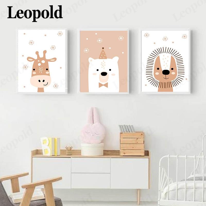 Постер с животными в скандинавском стиле, детская серия с рисунком полярного медведя, Льва, жирафа, декоративная живопись, украшение для дет...
