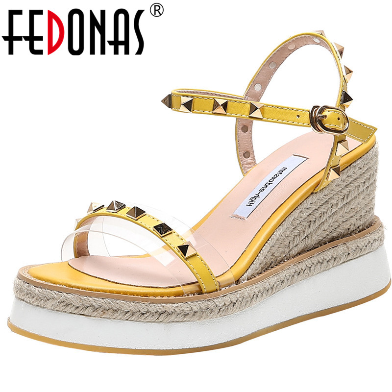 FEDONAS 2020 Top Qualoty Summer Women Sandals Wedge High Heels Open Toe Metal Decoration Shoes Elegant Sweet Slip On Shoes Woman