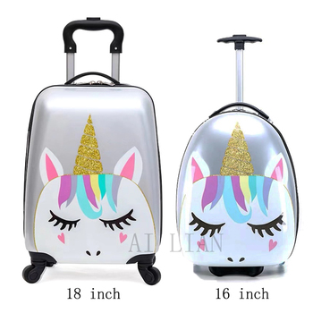 Kids rolling luggage Cartoon trolley luggage bag children's travel suitcase spinner whells Carry-ons trolley bag ABS Cute gift