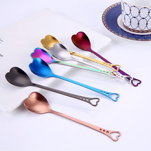 Multifunction Heart Shaped Love Couple Spoon Creative Stainless Steel Coffee Tea Dessert Stirring Spoon Rainbow Drinking Straws(China)