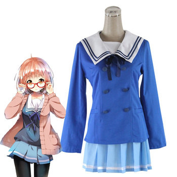 Japanese Anime Kyokai no Kanata Cosplay Beyond the Boundary Kuriyama Mirai Cosplay Costume Women Girls School Uniforms Sweater anime lovelive card sr minami kotori cheerleading uniforms cosplay costume girls school cheerleading uniforms stocking gloves