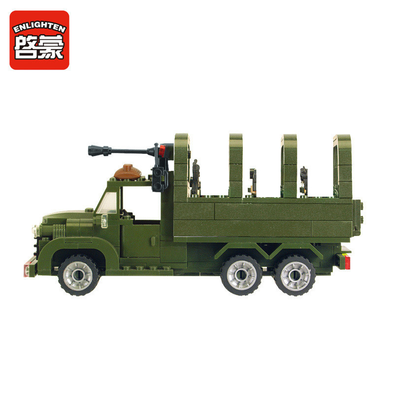 Enlighten 308Pcs Military Combat Zones Missile Vehicle Truck Building Blocks ARMY Soldiers LegoINGLs Bricks Toys Christmas Gifts in Blocks from Toys Hobbies