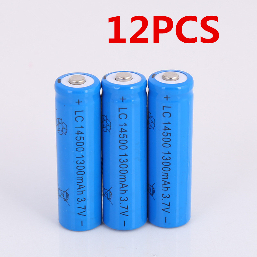 12pcs/lot Large capacity <font><b>14500</b></font> battery 3.7V 1300mAh rechargeable lithium battery for flashlight battery image