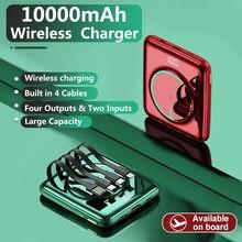 Caseier 10000mah mini power bank para iphone 12 carregador sem fio embutido 4 cabos de carregamento rápido portátil powerbank para xiaomi