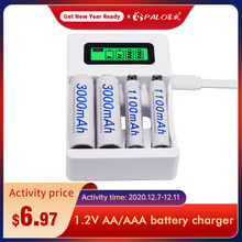 4 Slot Ulrea Snelle Smart Intelligente Batterij Usb Oplader Voor 1.2V Aa Aaa Nicd Nimh Oplaadbare Batterij Lcd Display snellader
