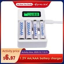4 slot ulrea rápido inteligente inteligente carregador de bateria usb para 1.2v aa aaa nicd nimh bateria recarregável display lcd carregador rápido