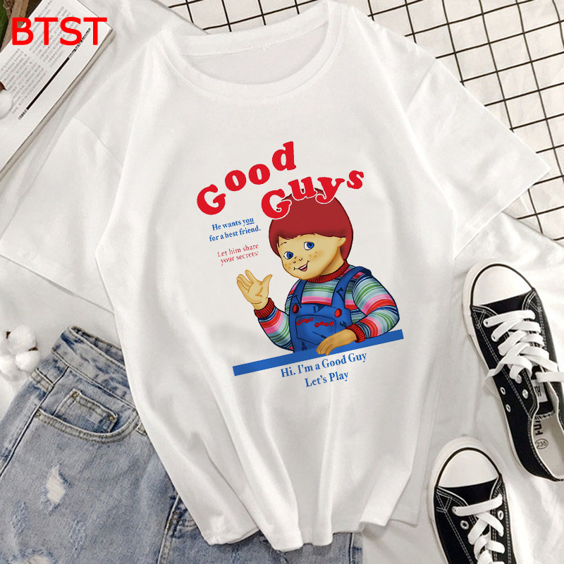 Summer Harajuku Kawaii Good Guys <font><b>Graphic</b></font> <font><b>Tees</b></font> <font><b>Women</b></font> 100% Cotton Korean Clothes Aesthetic Tops Japanese Gothic <font><b>Women</b></font> Clothes <font><b>2019</b></font> image
