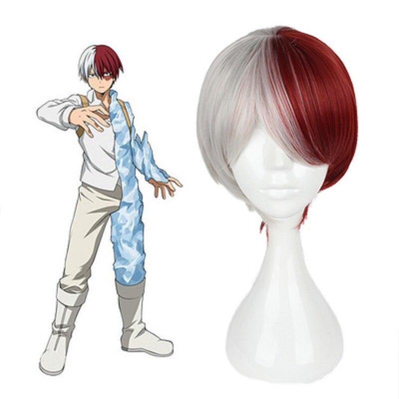 Meu herói academia halloween shoto todoroki cosplay peruca branca e vermelha curta peruca boku não hiro akademia shouto cabeça traje