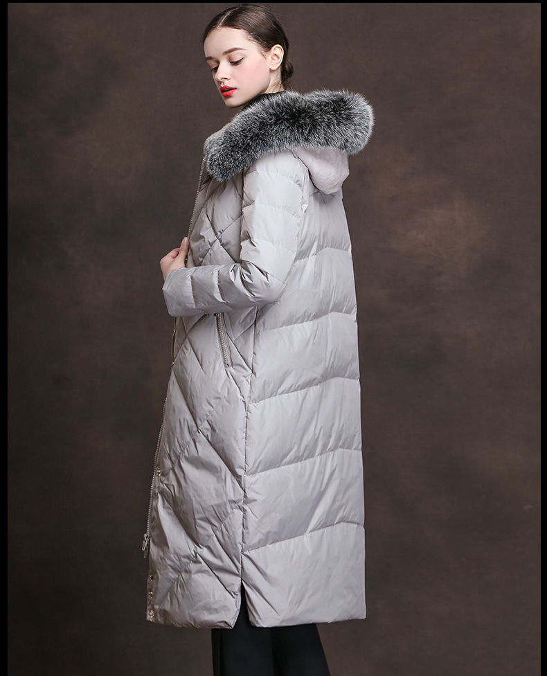 Women Winter 90% Duck Down Jacket New Luxury Natural Raccoon Fur Female Long Hooded Coat Parkas Hot Sale LX2245