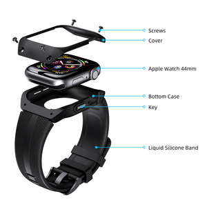 Image 1 - Silicone Watch Band TPU Watch Case For Apple Watch Series 4 44mm Full Frame Screen Protector For IWatch Series 4 44mm Watchband