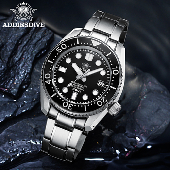 ADDIESDIVE 1968 300m Dive Mechanical Watch Men Mechanical Watches C3 Luminous Stainless Steel Dive Watches For Men NH35 Sapphire цена 2017