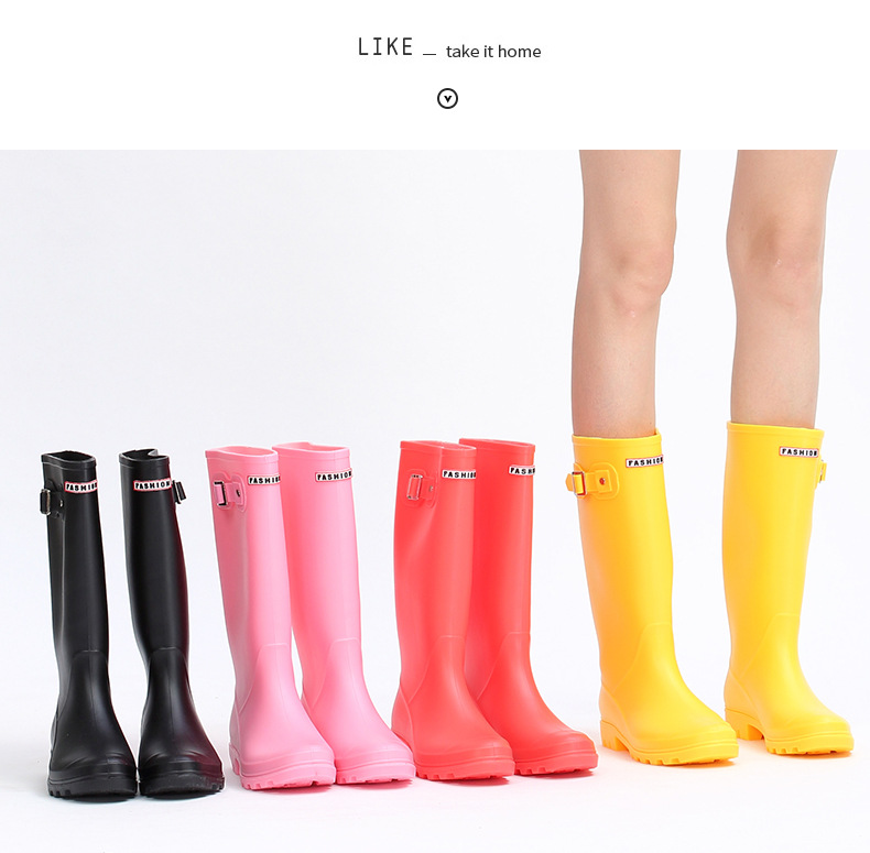 2019 Explosion rain boots female Korean high boots rain boots with jelly shoes rubber shoes women's water shoes non-slip
