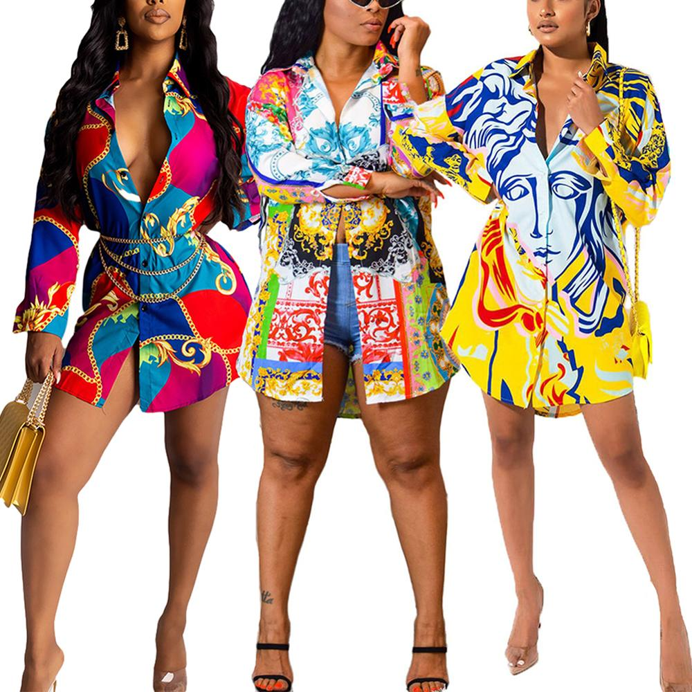 Fadzeco African Dresses for Women Dashiki Shirt Dress Long Sleeve Floral Shirts Blouse Tops Bazin Ankara Dress African Clothes