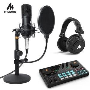 MAONO микрофон для подкастов набор 3,5 мм конденсаторный Студийный микрофон профессиональный компьютерный микрофон для Youtube Skype игровой ПК ноу...
