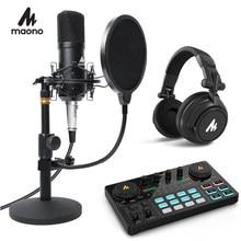Maono podcast microfone kit 3.5mm condensador estúdio microfono profissional computador mic para youtube skype jogos computador portátil
