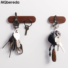 цена на Solid Wood Hook Key Holder Walnut Key Magnet Refrigerator Stickers Hanging Log Wall Decoration Magnetic Attraction Wood Shelf