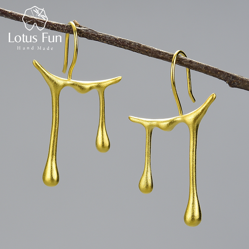 Lotus Fun Honey Drops Asymmetric Design Drop Earrings Real 925 Sterling Silver 18K Gold Earrings for Women Handmade Fine Jewelry