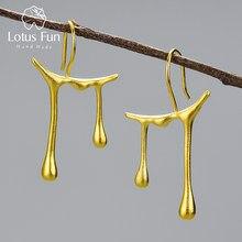 Lotus Fun Honey Drops Asymmetric Design Drop Earrings Real 925 Sterling Silver 18K Gold Earrings for Women Handmade Fine Jewelry