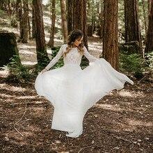 Платье De Noiva Boho Кружево Свадебные платья для женщин 2020 Длинный рукав Открытая спина Богемный Пляж Свадебные Платья Халат De Mariee