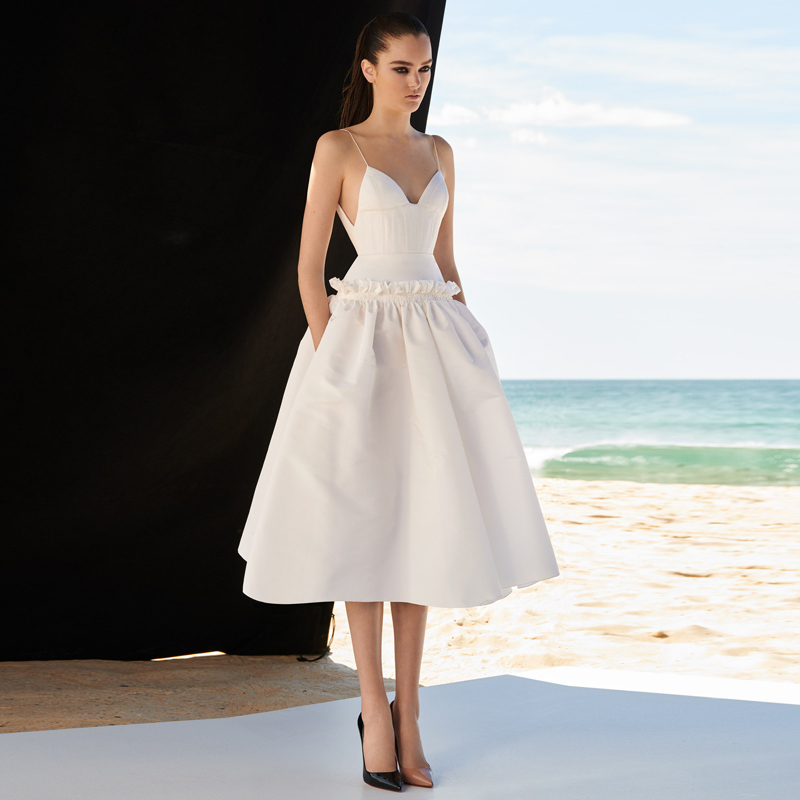 BGW White A Line Jersey Evening Dresses Sexy V Neck Ruffled Vestiti Eleganti Donna Cerimonia Sera Sleeveless Spaghetti Strap