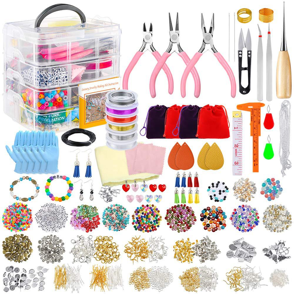 1 Lot Glass Seed Beads Kit, Multiple Sizes Craft Seed Beads with Small Pony Beads Beading Hoop Earring and Other Accesso