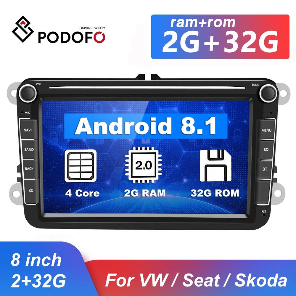 Podofo GPS Автомобильный мультимедийный плеер Android 8,1 Авто Радио 2 Din аудио стерео Bluetooth автомагнитолы для сидений/Skoda/Passat/Golf/Polo|Мультимедиаплеер для авто|   | АлиЭкспресс