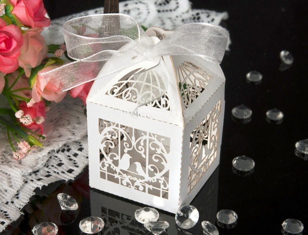 METABLE 50 Pcs Sets White Love Birds Laser Cut Favor Candy Box with Ribbons Bridal Shower Wedding Party Favors Decor in Gift Bags Wrapping Supplies from Home Garden