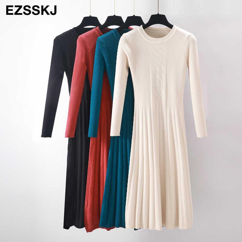 Элегантное осенне-зимнее длинное платье-свитер, женское платье с длинным рукавом, OL, женское плотное платье трапециевидной формы, женский джемпер с круглым вырезом, тонкое вязаное платье