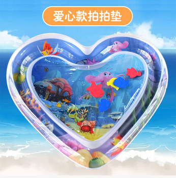 Baby Water Mat Pat Pad Spray Inflatable Different Patterns Water Cushion Marine Life Mat Ice Music Water Accessories - Heart-shaped 68x65CM