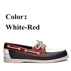 Image 5 - أحذية قيادة جلد طبيعي للرجال ، أحذية قيادة أنيقة جديدة على شكل قارب كلاسيكي ، تصميم العلامة التجارية بدون كعب للرجال والنساء 2019A010