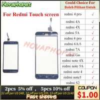 Novaphopat para Redmi Note 3 4 6 Pro 4A 4X 5A 6A 7A S2 Y2 ir Digitalizador de pantalla táctil Panel Sensor de vidrio