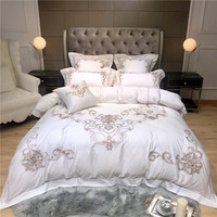New Luxury Exquisite Embroidery 100S Egyptian Cotton Bedding Set White Queen King Duvet Cover Bed Linen Fitted Sheet Pillowcases