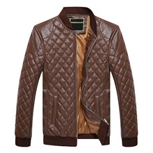 купить Puimentiua Men's PU leather jacket stand collar men's thick warm clothing motorcycle leather jacket 2019 дешево