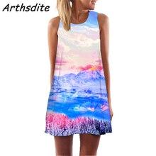 Arthsdite 2019 Vintage O Neck Floral Pattern Summer Dress Mini Sleeveless Plus Size Retro Bohemian Vestido Mujer