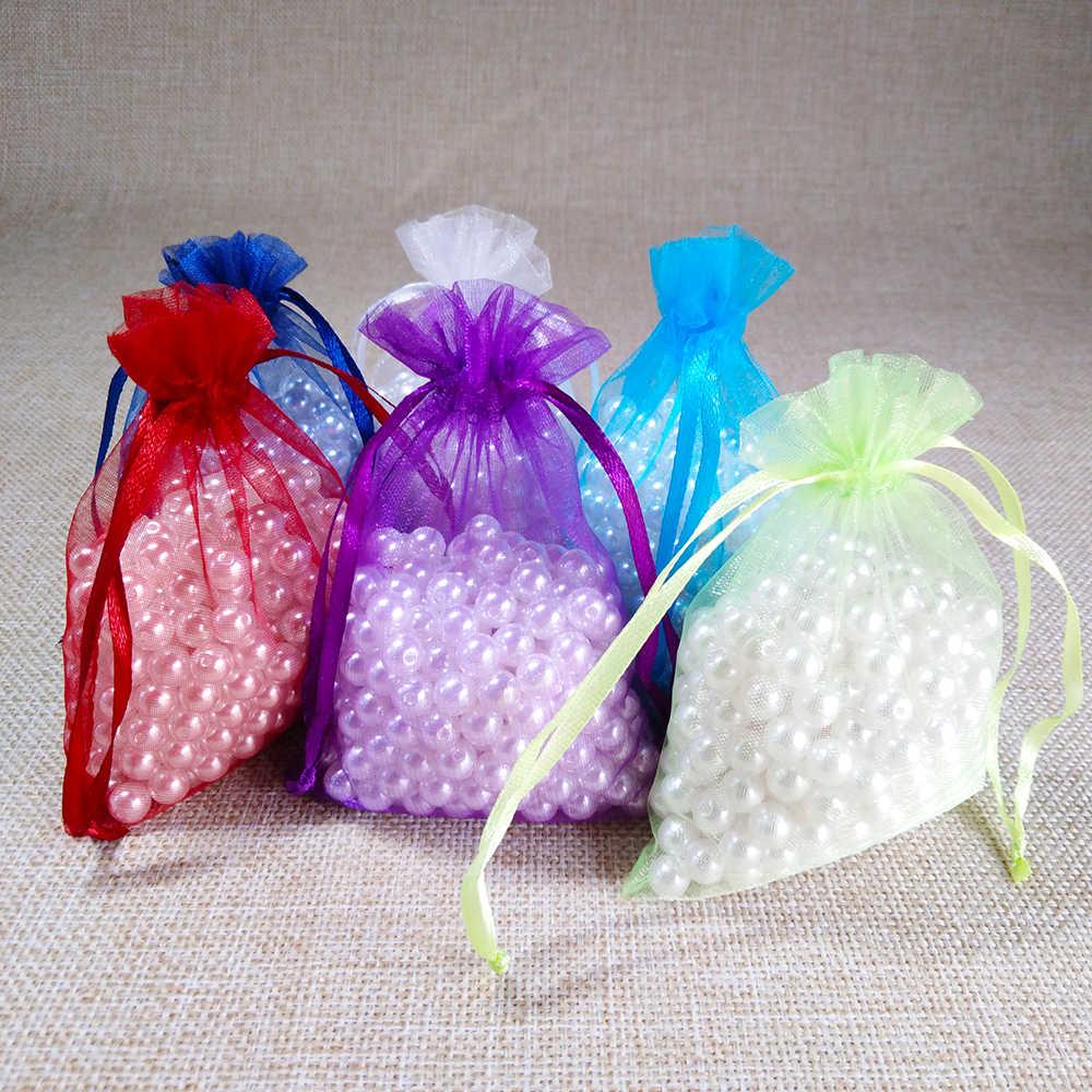 100 pz/lotto 10x15 11x16 13x18 15x20cm Drawable Organza del sacchetto di Cerimonia Nuziale Di Natale sacchetti regalo Imballaggio Dei Monili sacchetti di Organza e Borse multiuso