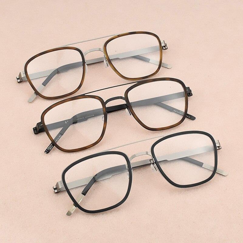 Image 5 - 2019 fashion brand Square eyeglasses Women's titanium glasses frame men optical glasses frame women spectacle frames Men's 9708-in Men's Eyewear Frames from Apparel Accessories