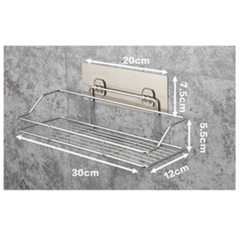 Shower Storage Rack Shelf Bathroom Wall Mounted Adhesive Silver Stainless Steel Reusable High Quality