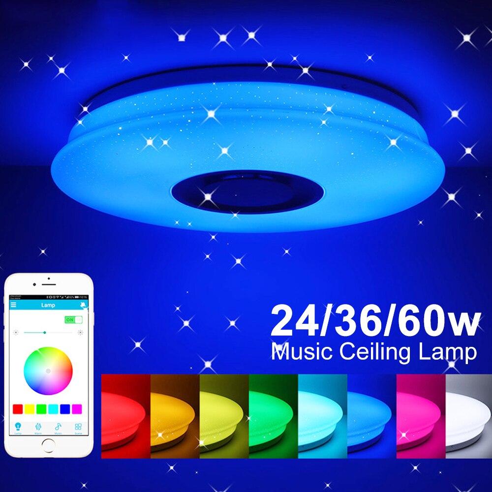 Işıklar ve Aydınlatma'ten Tavan Işıkları'de 24/36/60W gömme montaj yuvarlak Starlight müzik Led tavan işık lambası bluetooth hoparlör dim renk değiştirme aydınlatma armatürü title=