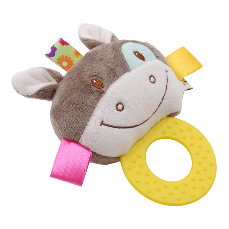 Super Cute Animal Newborn Rattles Toy Hand Bell Toddler Infant Rings Interactive Plush Toys Baby Early Education Toy Babys Gift