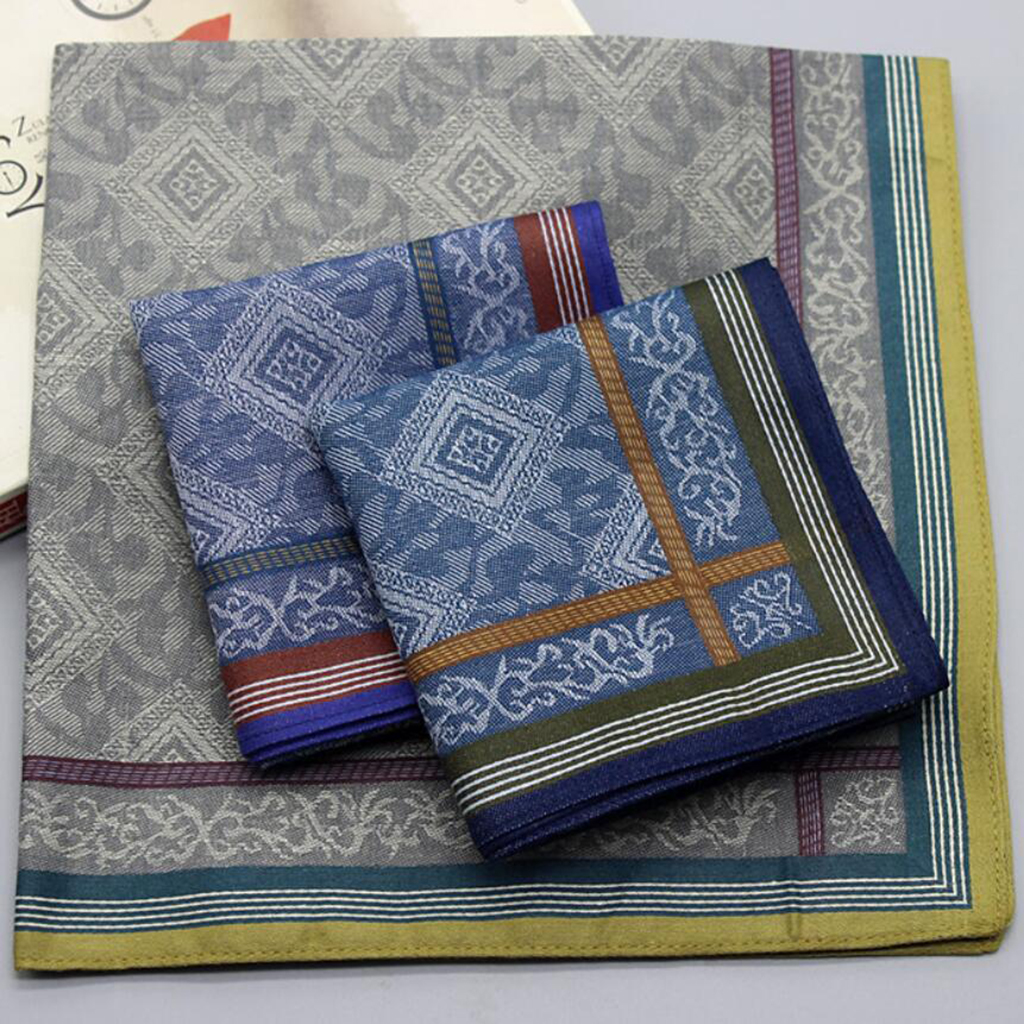 3pcs Mens Plaid Wedding Handkerchiefs 100% Cotton Man Pocket Towel Square Hanky 43 X 43cm