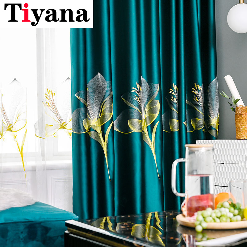 Luxury Dark green Curtains with Lily Embroidery for Bedroom Living room Window Treatment Sheer Blue Tulle Curtains JK042Y