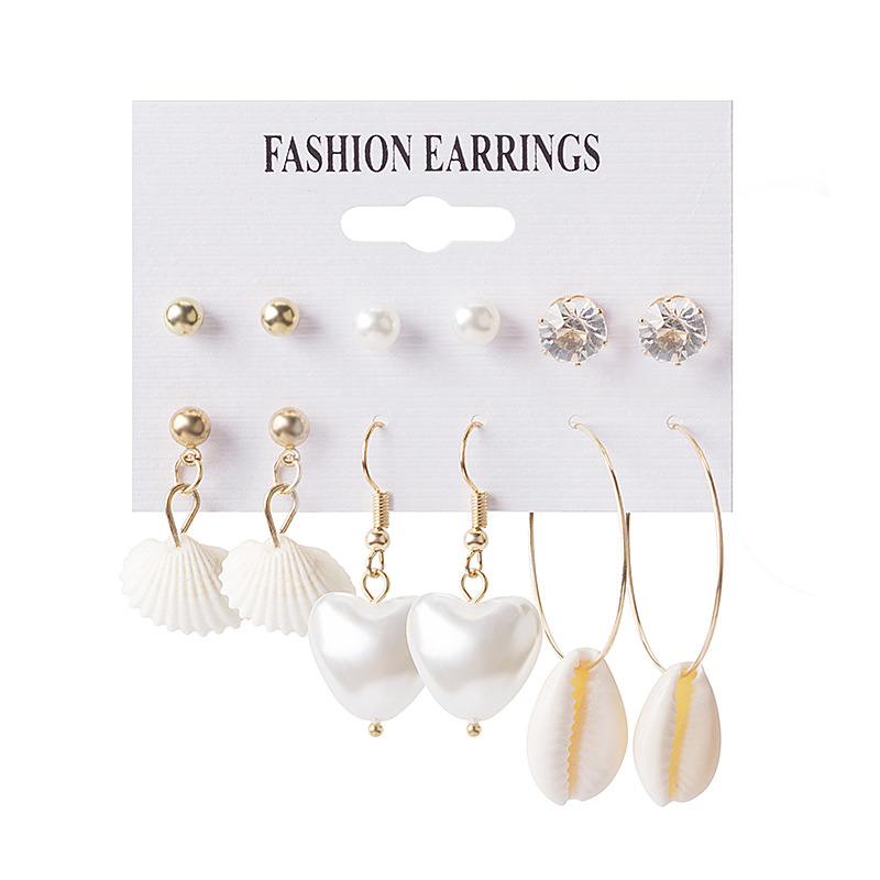 Hot Sell exaggerate Big Earring Moon Star Bow Love Water Drill 12 Pairs Of Set Ear Nail Jewelry in Stud Earrings from Jewelry Accessories