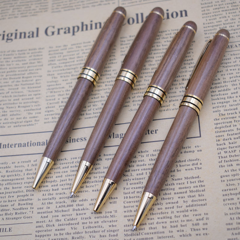 (12 Pieces/Lot) Walnut Wood Ball Pens Wholesale 0.5 mm Black Ink Wooden Writing Pen School Office Supplies Gift Joy Corner