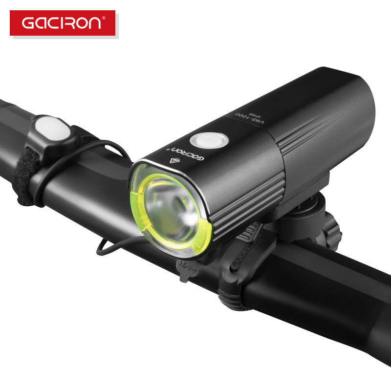 GACIRON Bicycle Bike Headlight Waterproof 1000 Lumens MTB Cycling Flash Light Front LED Torch Light Power Bank Rechargeable|Bicycle Light| |  -