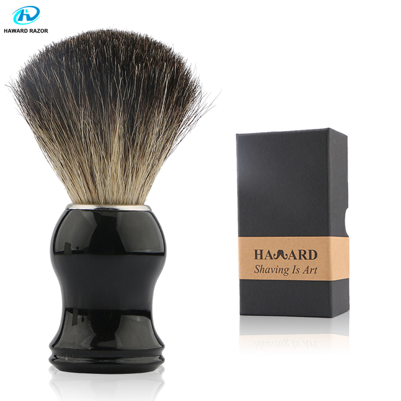 HAWARD Men's Shaving Brush 100% Pure Badger Hair Shaving Brush  Black Resin Handle  Beard Brush For Classic Traditional Shaving