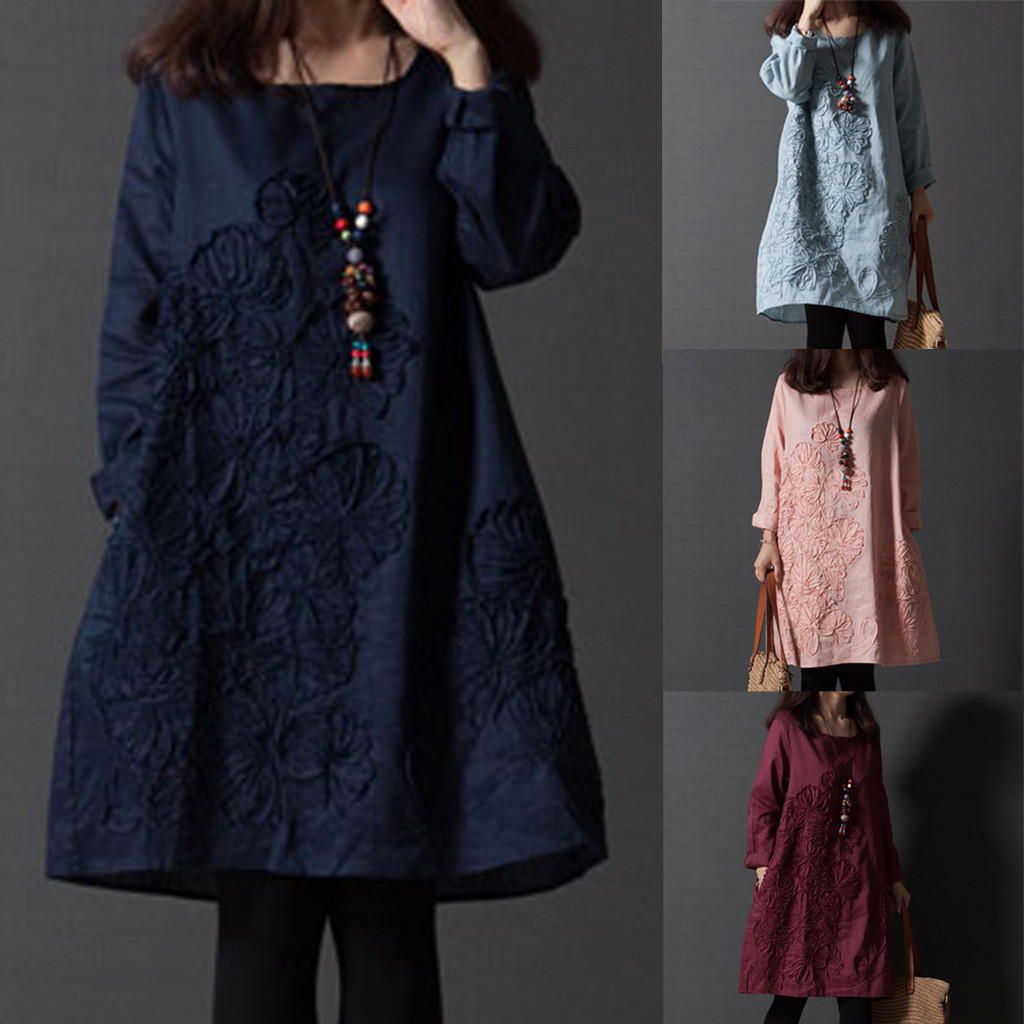 ropa mujer sukienki dress women Plus Size Solid Pockets Embroidery Linen Long Sleeves Loose winter dress sukienka robe hiver
